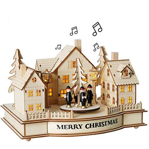 Valery Madelyn Weihnachtsplatz Spieluhr 20cm Natürliche Holzfarbe Merry Christmas Musik Box aus Holz Kinder Mädchen Spielzeug Weihnachtsdeko Weihnachten Advent Geschenk