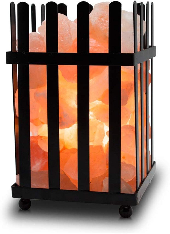 Steinsalzlampe Salz lampe Himalaya kristall salz lampe einstellbare helligkeit nachtlicht schlafzimmer nachttischlampe schmiedeeisen dekoration geschenk ( Farbe   Photo Farbe , Größe   1218cm )