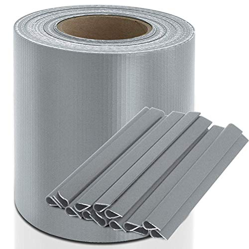 PVC jaloezieën strips 19 cm x 35 m met bevestigingsclips | privacy film | wind bescherming | staafmat hek | Tuin hek | Ondoorzichtig | Voor roosterhekken | 3 kleuren + 4 ontwerpen grijs
