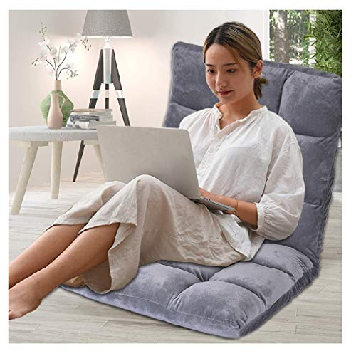 Indoor Adjustable Floor Chair, 5-Position Folding Soft Cozy Padded Kids Gaming Sofa Chair Cushioned for Living Room and Bedroom, Perfect for Meditation, Reading, TV Watching, Sallow