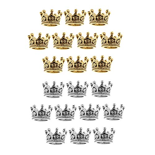 P Prettyia 20pieces Classic Alloy Queen Crown Shape Spacer Bead Fit Making DIY Bracelet Charms Bride Jewelry Holiday Decors 6 X11mm (Silver,Golden)