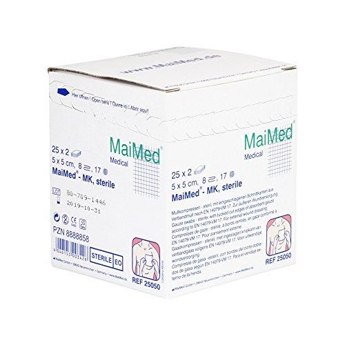 Maimed - Sterile Mullkompressen - Weiß - 5 x 5 cm - 25 x 2 Stück