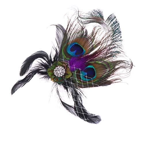 Lurrose plumas de pavo real pinza para el pelo tocado de la aleta grandes accesorios para el cabello disfraz de gatsby para mujeres