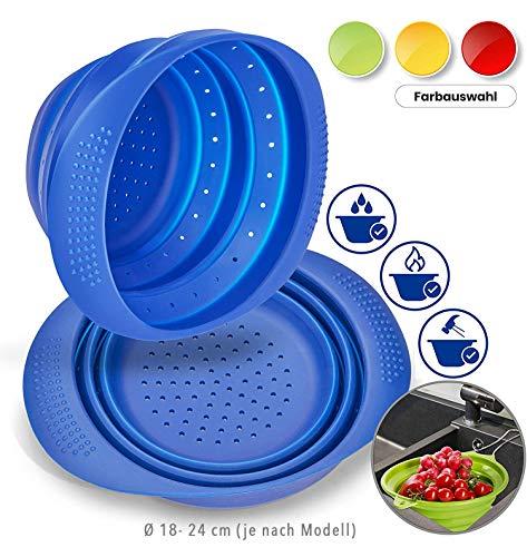 Premium Sieb faltbar aus Silikon | platzsparend, multifunktional, spülmaschinengeeignet (faltbares Nudelsieb, Abtropfsieb, Küchensieb, Dampfgarer, Durchschlag, Abgießhilfe) | Blau 18 cm