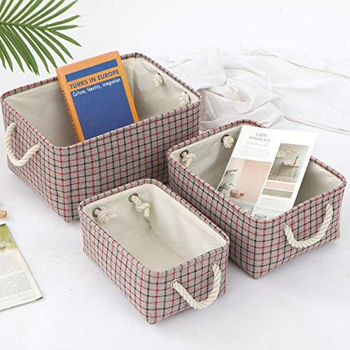 Scatola portaoggetti in tessuto, cesta portaoggetti pieghevole per bambini con manici in corda per vestiti, mensola, armadio, giocattoli, scatole portaoggetti per ufficio (Red, 36x26x16 cm)