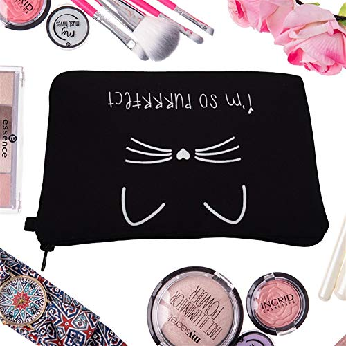 Airlucky cosmetica-organizer, pure zwart, leuke kat bedrukt, cosmetica-tas voor dames, merk-make-up tas