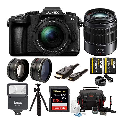 Panasonic LUMIX G85 4K Mirrorless Camera with G Vario 12-60mm and 45-150mm Lens, 128GB SD Card, Camera Bag, Battery and Dual Charger, 58mm Lens Set, Digital Flash, Tripod and Cable Bundle (9 Items)