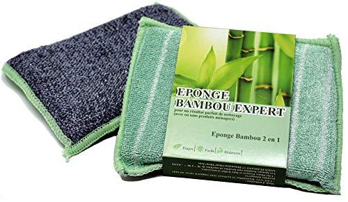 Bambou Expert ® - Éponge en Microfibre de Bambou - Éponge Réutilisable et Durable, ne Laisse pas de Traces, Lavable en Machine - Lavette Double-Face, Face Grattante Graisse Tenace - 14x10cm, Pack de 2