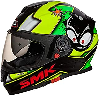 SMK GL241 Twister CARTOON Graphics Pinlock Fitted Full Face Helmet With Clear Visor (X - Large)