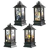 4 Piezas Linterna de Llama de Halloween Linterna de Halloween LED Luz de Noche Linternas de Velas Decorativas Lámpara...