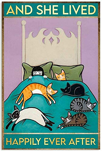 Cat Lover Funny Girl and Cat and She Live Happily Ever Canvas Wall Art Canvas 0.75 Inch, Home Decor (Size 8x12, 12x18, 16x24, 24x36 Inches)