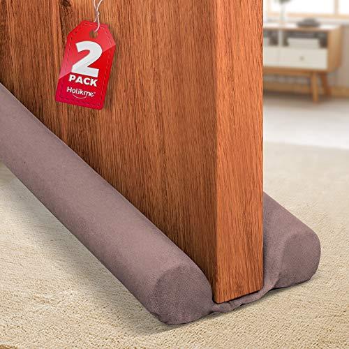 Holikme 2 Pack Twin Door Draft Stopper Weather Stripping Noise Blocker Window Breeze Blocker Adjustable Door Sweeps 34inch Coffee