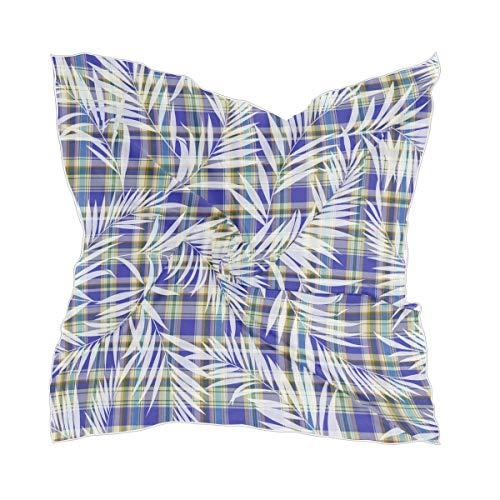 Emoya - Bufanda cuadrada para mujer, diseño de plantas tropicales y cuadros