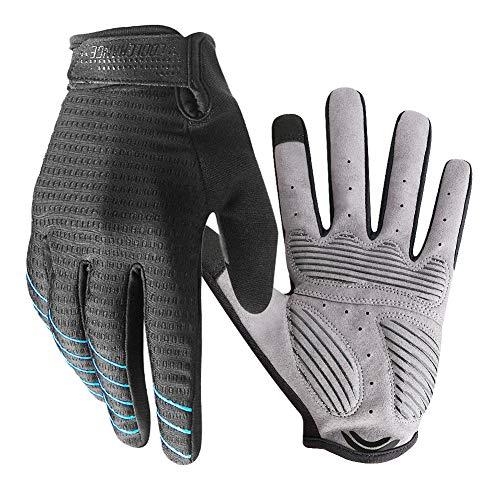Radsport Handschuhe Herren Damen Touchscreen, Fahrradhandschuhe Sommer Atmungsaktiver rutschfeste für Radsport MTB Mountain Break Trekkingrad Rennrad Fahrradfahren - Schwarz und Blau M