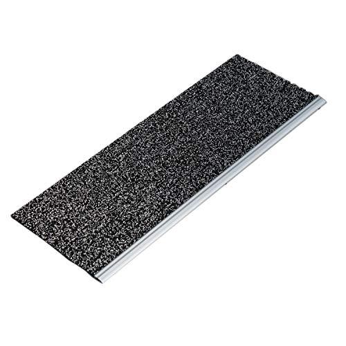 Sicherheits-Stufenmatte mit Aluprofil für den Außenbereich Salz-Pfeffer 65x24cm - kombinierbar mit Läufer