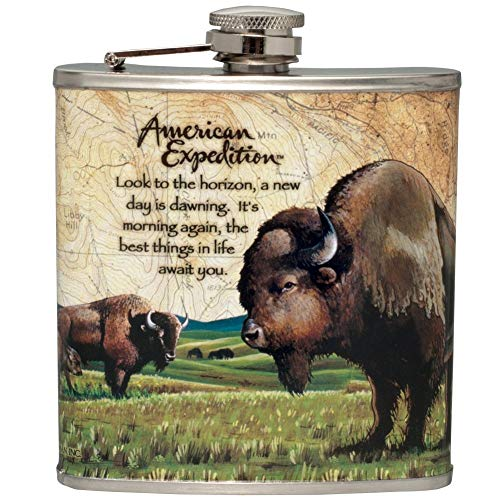 American Expedition Stainless Steel Hip Flask American Bison Buffalo Wildlife Scene