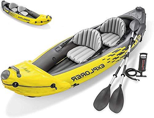 N/Z Kajak aufblasbar im Set für 2 Personen Kanu mit Paddel, Pumpe,PVC Aufblasbare Dingy Boot Kajak für Wassersport Fischen oder Spielen auf Seeflüsse-Laden Sie 400 kg, Größe 45,7 x 254 x 61 cm (cm)