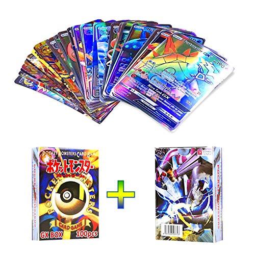 OMZGXGOD Pokemon Karten, 100 Stücke Pokemon GX MEGA Karten Sonne & Mond Series und Ultra Prism Series, Karte Für Tag Team, GX Karten EX MEGA Energy Trainer Karten (95GX+5MEGA)