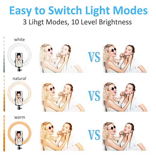 """Villsure LED Ring Light, 10"""" Selfie Ring Light with Adjustable Tripod Stand and Phone Holder, Dimmable Led Camera Ringlight for Live Stream/Make Up/YouTube, Compatible with iPhone/Android"""