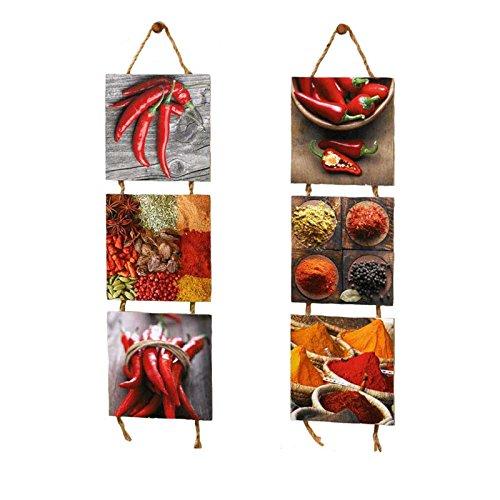 SIDCO Wandhänger 2 x 3er Küchenbild Spicy Küchendeko Wanddeko Chili Wandbild Gewürze