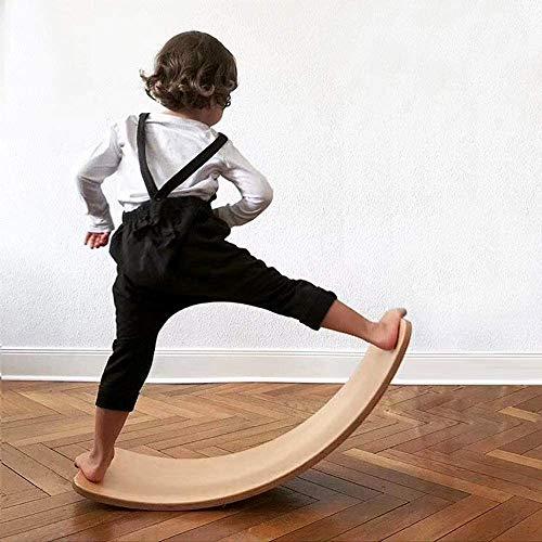 VISTANIA Bilancia per Bambini in Legno | Tavola di Legno Montessori | Tavola a Dondolo ad Altalena Curva | Wobble Board