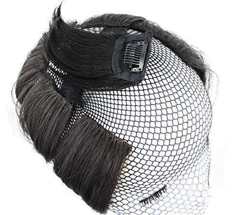 Mini extensions de cheveux humains courts, 10,2 cm, à clipser, pour ajouter de la volume aux cheveux, pour homme et femme, noir cassé (un clip)