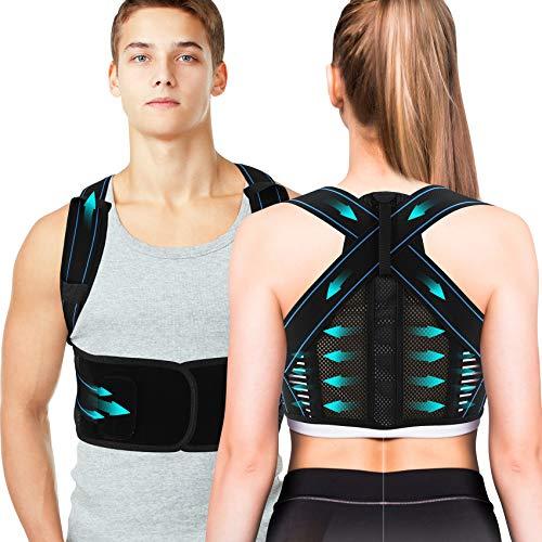 Corrector de Postura Espalda, Hailicare Cinturón Postura Ajustables Corrección Lumbar Apoyo para Hombres/Mujer, Enderezador de Espalda, Aliviar el dolor de Espalda y Hombro - Cintura(L, 37.4''-41.3'')