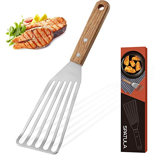 ROMANTICIST Stainless Steel Wide Thin Kitchen Fish Spatula - Lightweight and Durable Slotted Spatula...