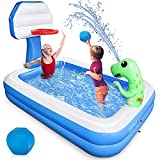 Growsly Inflatable Pool - 81' X 55' Kiddie Pool with Basketball Hoop and Dinosaur Sprinkler for Kids Swimming Pool, Summer Outdoor Water Toys for 3+ Year Old Boys Girls Family Pets