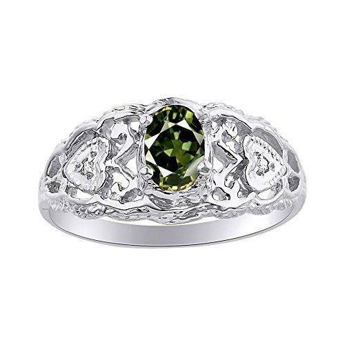 Juego de anillos de zafiro verde y diamante en oro blanco de 14 quilates con corazones