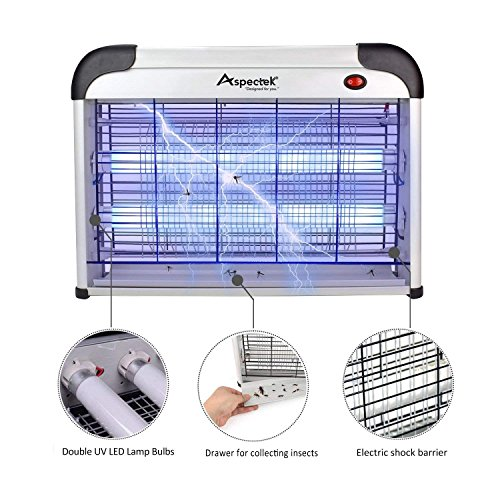 ASPECTEK Lampe Anti Moustique - UV LED Tue Mouches Destructeur D' Insectes Electrique 20W, Anti Moustiques Exterieur, Piege a Mouche Efficace Portée 20-120m²