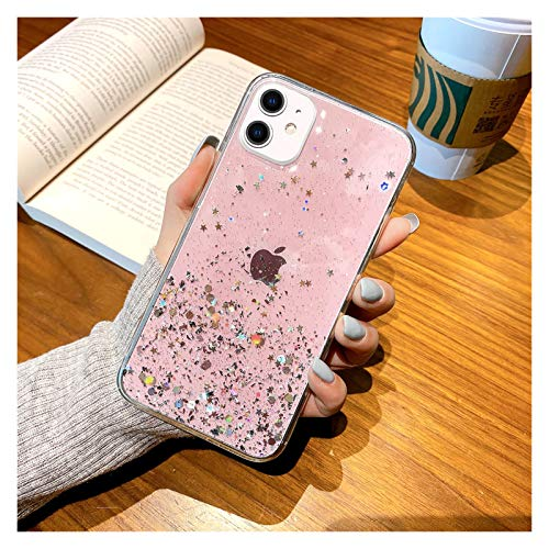 DingHome Funda epoxi de Bling Bling para Phone 11 12 Pro MAX Funda para IPHONE11 Pro XS XR X 6 6S 7 8 Plus SE2 Case iPhone12 Mini 11pro (Color : Rosado, Material: : For ipone 12Max)