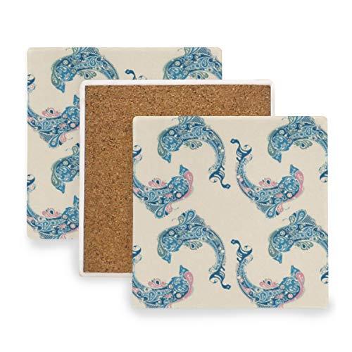 FAJRO Untersetzer, Motiv Delfine, gezeichnete Tasse, groß, 9,9 cm, passend für alle Tassen, Holz, 1, 1 piece set