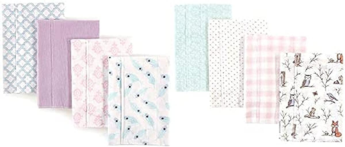 Hudson Baby Girl 5 ☆ very popular Cotton Flannel Burp Cloth Peacock Ranking integrated 1st place 8-Pack Feath