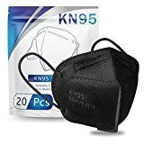 KN95 Face Mask 20 PCS, Included on FDA EUA List, Filter Efficiency≥95%, 5 Layers Cup Dust Mask Against PM2.5 from Fire Smoke, Dust, for Men, Women, Essential Workers(Black)