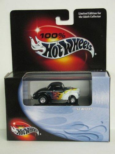 100% Hot Wheels - Edición Limitada Cool Collectibles - 41 Willys - Escala 1:64 Classic Collector Car Réplica montada en el estuche de exhibición de colector. Color de cuerpo blanco y negro.