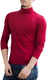 Men Base Turtle Neck Solid Slim Top Jersey Long-Sleeves T Shirts