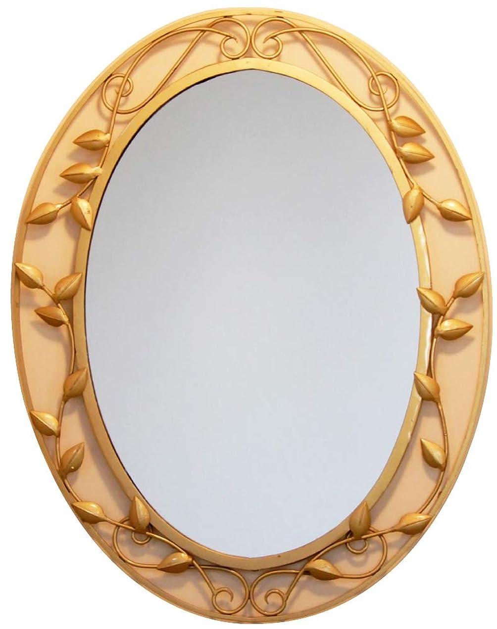汚染ファイナンスレパートリー鉄製 オーバル JHAアンティークミラー アイアン?ミラー(アンティーク?ゴールド)リーフ楕円(L)W455×H600 RT-4 壁掛け鏡 ウォールミラー 洗面 トイレ 店舗