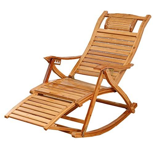 Tumbona reclinable Madera Maciza Mecedora Plegable Silla De Almuerzo Ocio Hogar Balcón Tumbona Mecedora Sillón Adulto Tumbona De Bambú De Edad Avanzada (Color : A)
