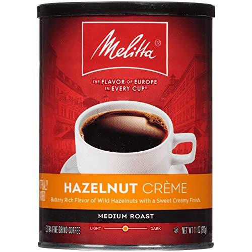ground coffee storages Melitta Hazelnut Crème Flavored Coffee, Medium Roast, Extra Fine Grind, 11 Ounce