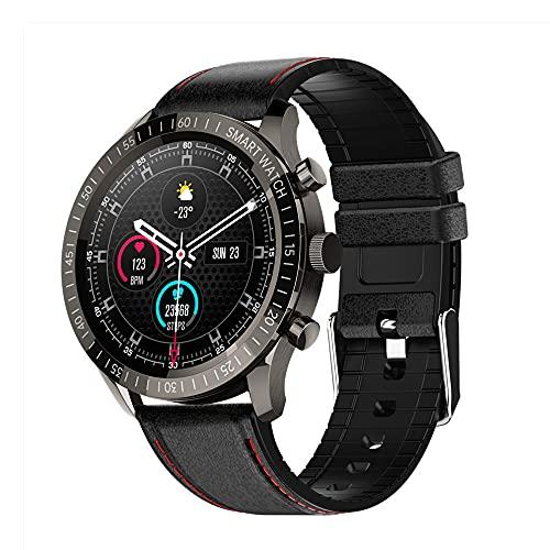 Reloj Inteligente,3D Dynamic Ui Health Management 1.32 Pulgadas 3 Botones Pulsera Bluetooth Adecuado para Mujeres y Hombres, Compatible con Android iPhone iOS (Black Correa de Cuero)