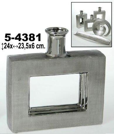 DonRegaloWeb–Vaso di Ceramica con Forma Quadrata e con la Parte Centrale concava Decorato: Argento