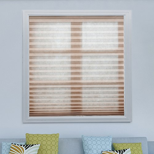 """Acholo 3 Pack Brown Light Filtering Pleated Fabric Shades Blinds for Windows Easy to Install Trim-at-Home 36""""x72"""""""