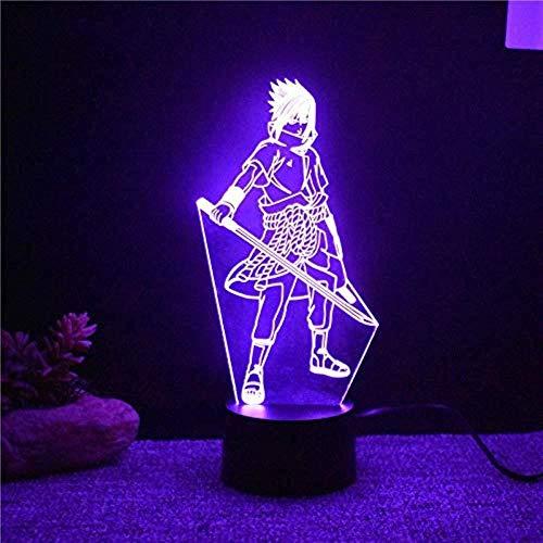 Uchiha Sasuke - Lámpara de noche 3D de 7 colores cambiantes LED 3D de mesa de modelo, Anime Home Decor lámpara de noche para niños sueño noche noche