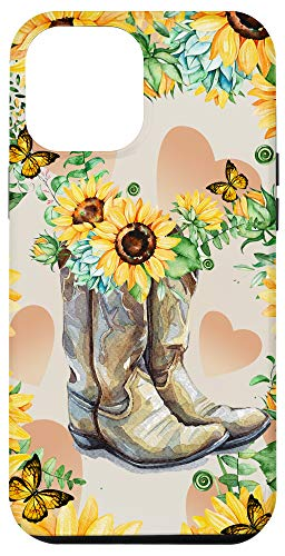 iPhone 12 Pro Max Rodeo Sunflower Cowgirl Boot Farmer Lover Case