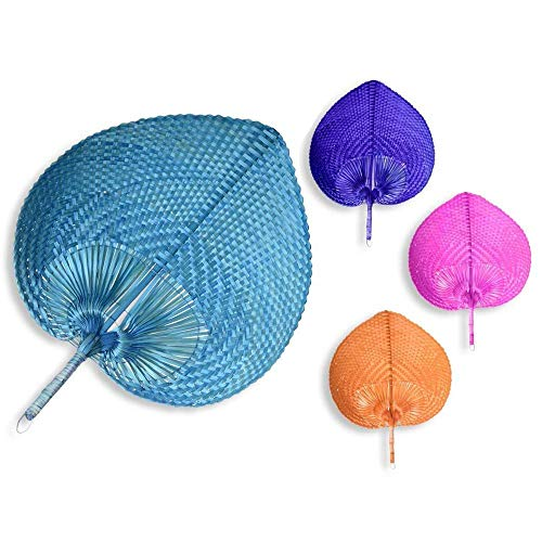 Pai Pai de Bambú hechos a mano 4 colores Grandes para BODA (Pack 12 unidades). Rafia, mimbre baratos económicos. Abanico boda, Pai Pai Boda