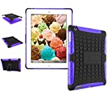 Protective Heavy Duty Tough 2 In 1 TPU+PC Design Holder Case Cover For Ipad Case For Apple ipad Mini 1st , 2nd , 3rd Generation Model : MD531LL/A , A1600 MD528LLA , A1432 ( Black with Purple )
