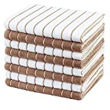 Gryeer Microfibre Tea Towels - Pack of 8 (Stripe Designed Brown and White Colours) - Soft, Super Absorbent and Lint Free Kitchen Towels, 45 x 65 cm