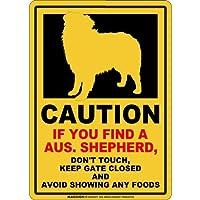 CAUTION IF YOU FIND マグネットサイン:オーストラリアンシェパード(レギュラー)イエロー 注意 DON'T TOUCH 触れない/触らない KEEP GATE CLOSED ドアを閉める 英語 防犯 アメリカンマグネットステッカー