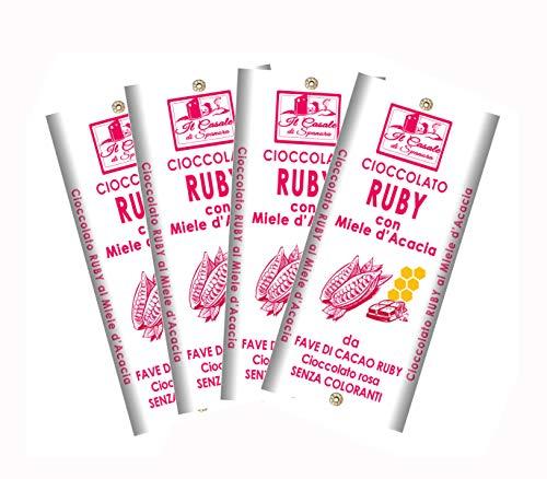 NOVITÀ | Cioccolato RUBY | da Fave di Cacao Rosa | set tavolette 4 pz - 440 gr - Cioccolato Artigiano Italiano - Il Casale Di Spanora